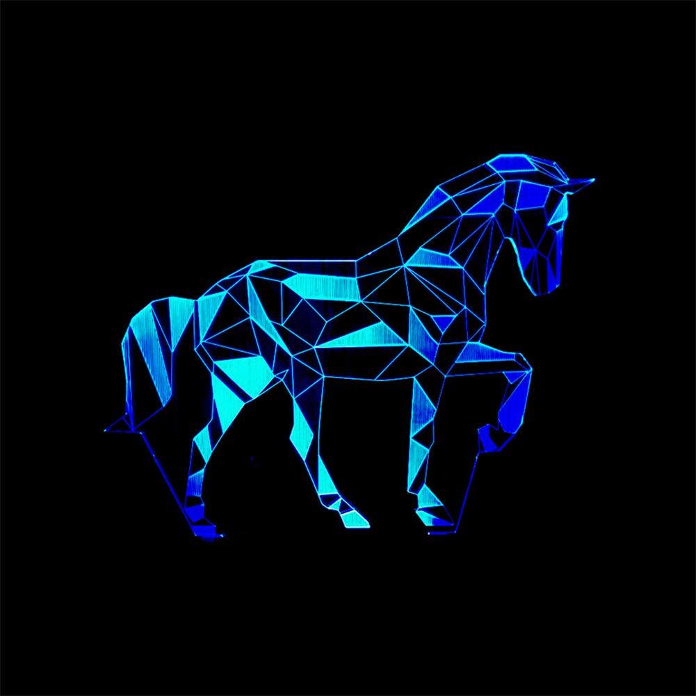 Personality Zebra 3D Illusion Lámpara LED Night Light Con 7 ...