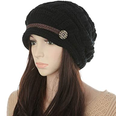 6a7956814726 Image Unavailable. Image not available for. Color  KirGiabo Women Winter Beanie  Cabled Checker Pattern Knit Hat Button Strap Cap Black
