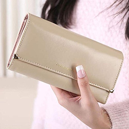 Bags Clearance cute Purse Long 2018 wallets Beige Noopvan Wallet Wallet Elegant wrist Leather Women wallet PU Gift Clutch BY05YPUqO