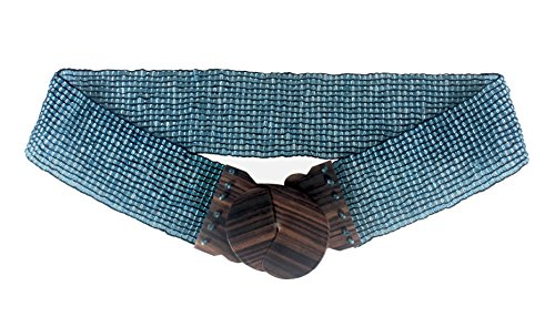 Nesha Beaded Stretch Belt with Wood Buckle Crystal Blue