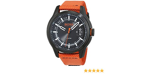 Amazon.com: HUGO BOSS Mens Hong Kong Sport Quartz Watch with Nylon Strap, Orange, 21 (Model: 1550001: Boss Orange: Watches
