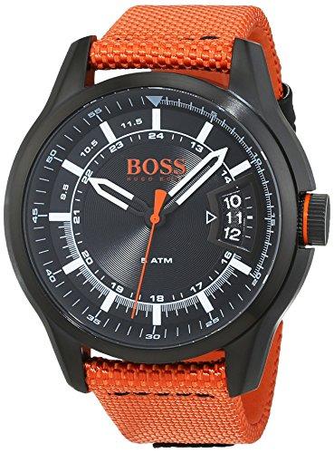 HUGO BOSS Men's 'Hong Kong Sport' Quartz Resin and Nylon Casual Watch, Color:Orange (Model: 1550001)