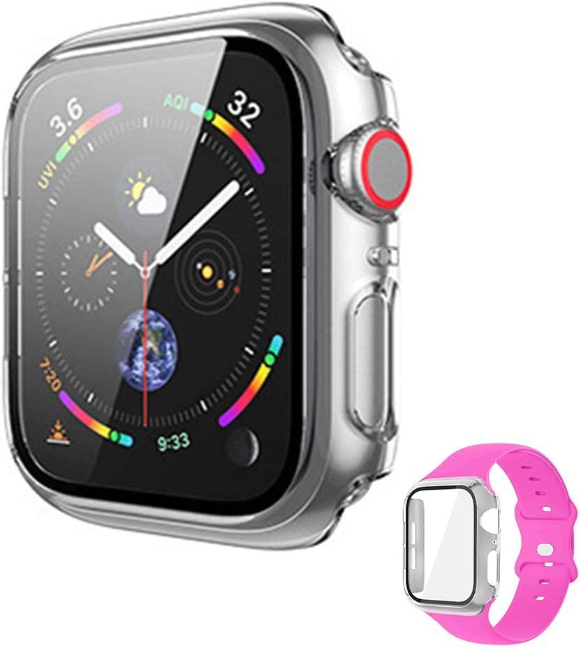 Vopteep Watch Case [Band Included] Compatible for Apple Watch Series 6/SE/5/4 Durable Soft Silicone Strap with Slim Full Coverage Matte Hard Case Replacement for iWatch(Barbie Pink,40mm M/L)