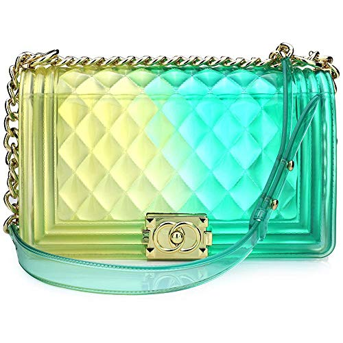 (Women Transparent Jelly Messenger Bag Lady Gradient Candy Color Shoulder Purses Mini Crossbody Bag with Chain (Yellow Green,25x15x8CM))