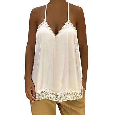 TIREOW Frauen Solide Sexy Spitze Patchwork Einsatz V-Ausschnitt Sling Lose Trägershirt Bluse