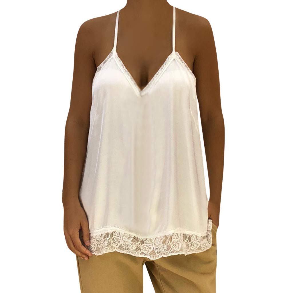 Women Tank Tops Sleeveless Blouse Solid Color Sexy Lace Splice V Neck Shirt Basic Cami (S, White)