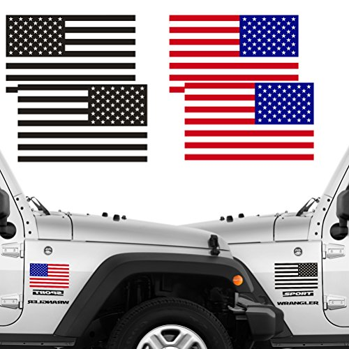 (Reflective Full Color & Subdued American Flag Stickers 2 Pairs Bundle 3
