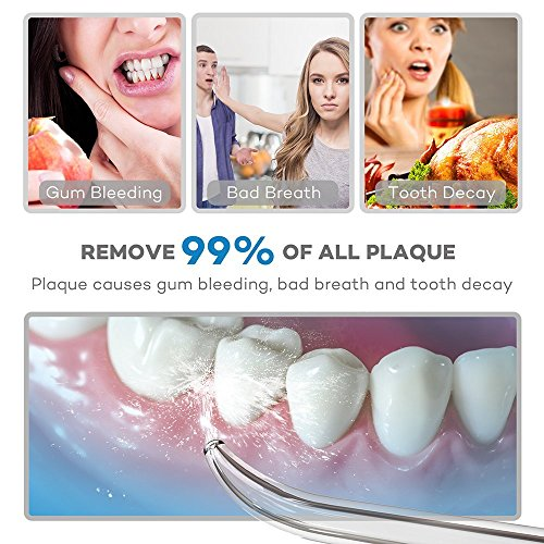 VAVA Water Dental Flosser for Whole Family, 220ML Capacity Removes 99.9% of Plaque, Debris & Tartar, Rechargable Cordless Oral Irrigator (3 Water Pressure Modes, 3 Jet Tips, FDA Approved, IPX7 Waterpr by VAVA (Image #2)