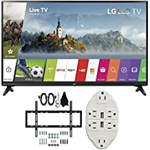 LG 55-inch Full HD Smart TV 2017 Model (55LJ5500) with Deco Mount Slim Flat Wall Mount Ultimate Bundle Kit for 32-60 inch TVs & Stanley Transformer Tap USB w/ 6-Outlet Wall Adapter & 2 Ports