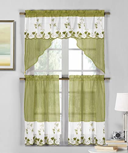 3 Piece Sheer Window Curtain Set Strawberry Field Embroidery, 2 Tiers, 1 Swag Valance Sage Green and White