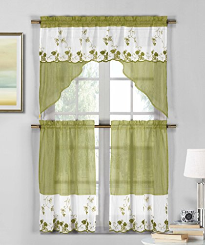 3 Piece Sheer Window Curtain Set: Strawberry Field Embroidery, 2 Tiers, 1 Swag Valance (Sage Green and White) (Fields Valance Floral)