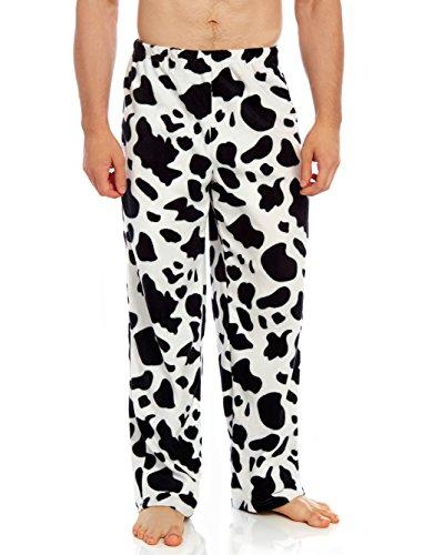 Cow Print Pattern - Leveret Men's Fleece Pajama Pants Sleep pj Bottom (Cow, X-Large)