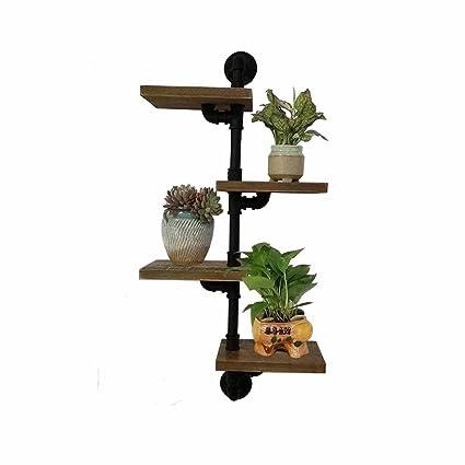 Flower Stand Floating Shelves Wall 4 Tier Planter Holder Decoration Display Shelf Storage Rack Pipe Bracket