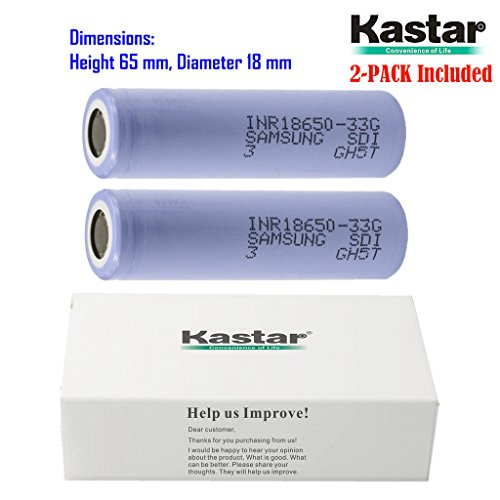 Kastar 2-Pack INR18650-33G 33G High Drain Lithium-ion Battery, High Quality Samsung 3.6V 3300mAh Rechargeable Flat Top for Electric Tools, Toys, LED Flashlights and Torch ECT.