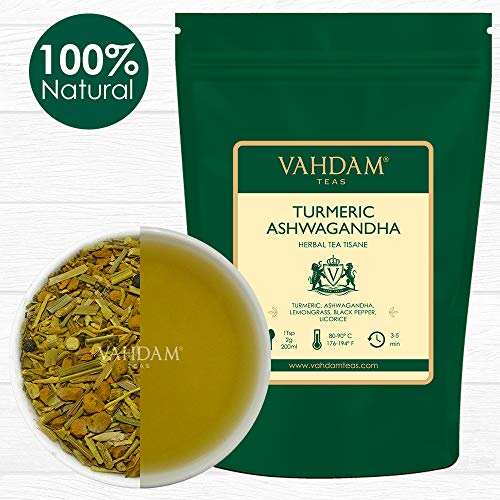 Turmeric Ashwagandha (100 Cups) | India's Ancient Medicine Blend of Turmeric & Garden Fresh Spices, ABUNDANT IN ANTI-OXIDANTS & PHYTO-NUTRIENTS | Turmeric Tea | Packed in India |7oz