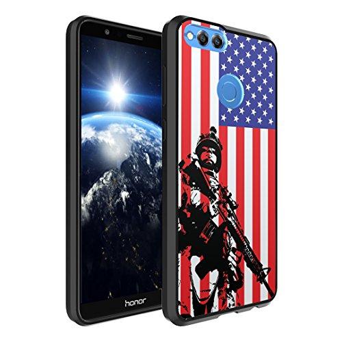 Huawei Honor 7X Case, Capsule-Case Hybrid Slim Hard Back Shield Case with Fused TPU Edge Bumper (Black) for Huawei Honor 7X - (Marine USA Flag)