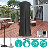Essort Garden Heater Cover, 96×220cm Factory Direct All-season Use Courtyard Patio Waterproof Drawstring Terrace Heating Round Reversible Cover with Zip Closure Black