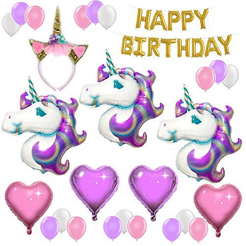 UNICORN PARTY SUPPLIES and PARTY DECORATIONS | Unicorn Balloons with Happy Birthday Banner and Glitter Unicorn Headband - Unicorn Theme Party Pack - 3 Unicorns, Foil Hearts, and Latex Balloons