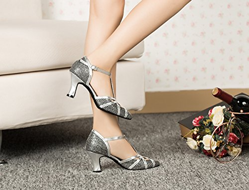 Close Glitter Black T Wedding 7cm Shoes Comfortable Heel Latin Strap Toe Shoes Tango Miyoopark Dance Women's vqOFO5