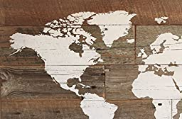 Barn wood world map in large size for travelers