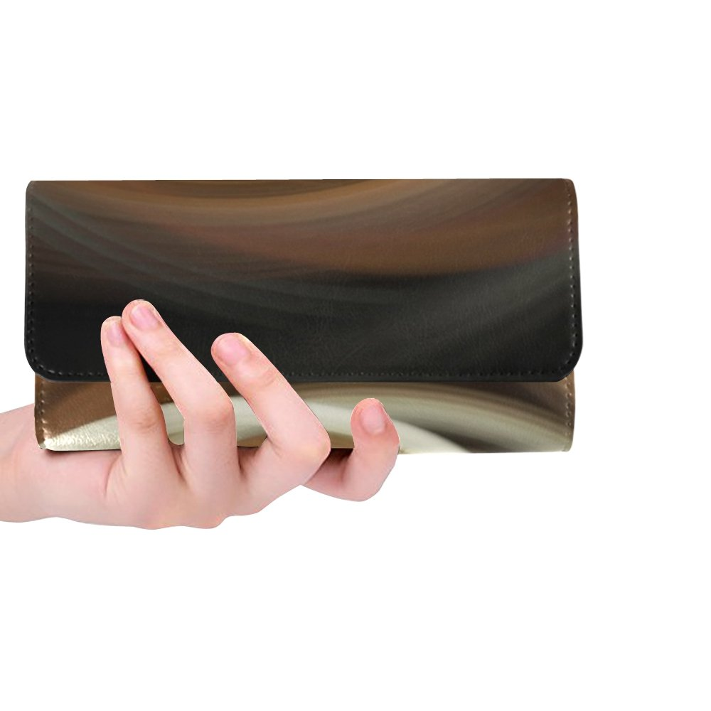 Unique Custom Brown Cream Swirls Art Abstract Women Trifold Wallet Long Purse Credit Card Holder Case Handbag by JTMOVING