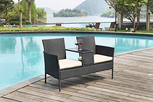 GREARDEN Outdoor Furniture Set,Wicker Patio Loveseat Sofa