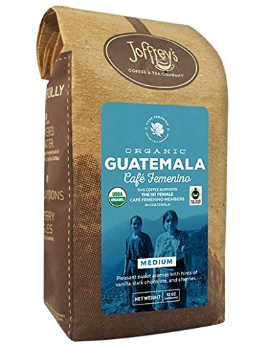 Joffrey's Coffee & Tea Co, Organic Café Femenino Coffee, Guatemala, Crisp and Tangy, Walnut, Chocolate, Medium Roast, Ground, 12 Ounce -