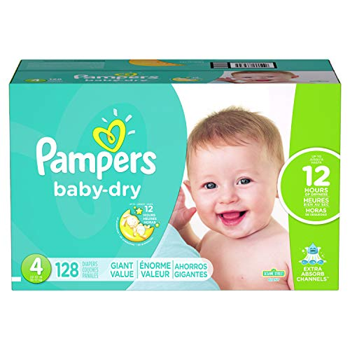Diapers Size 4, 128 Count - Pampers Baby Dry Disposable Baby Diapers, Giant Pack