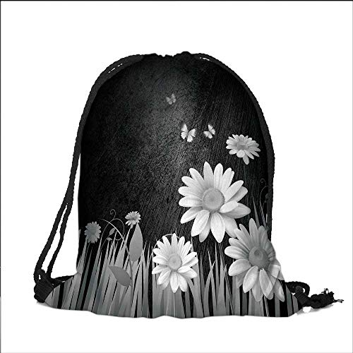 Pocket Drawstring Bag Antique Old Planks American Style Western Rustic Wooden and white daisies, grass and butterflies Backpack Student Bag 13