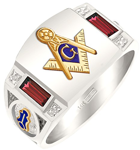 US Jewels And Gems Customizable Men's Solid Back Two Tone 14k White Gold Genuine Garnet Freemason Masonic Ring Size 10.5