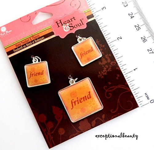 3 Friend Charms Pendant Set Square Bead Drops Altered Art with Jumprings ()