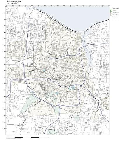 Amazon Com Zip Code Wall Map Of Rochester Ny Zip Code Map