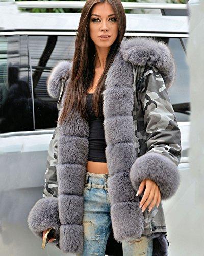 Manteau Chic Coat Femmes Parka Capuche 50 Grande 36 Taille Aofur Camouflage Hiver Gris Casual Vestes YBq1E4Bwn