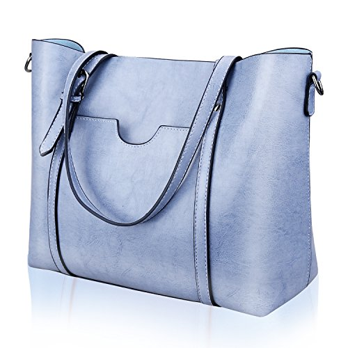 (Women Top Handle Satchel Handbags Shoulder Bag Tote Purse Greased Leather Iukio (Blue))