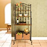 Stylish Baker's Rack, Durable Iron Construction, Solid Mission Oak Counter Top and 2 Shelves, 2 Rattan Baskets Included, 1 Wire Shelf, Ideal for Any Kitchen