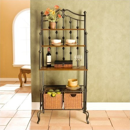 Bakers Rack Oak Shelf (Stylish Baker's Rack, Durable Iron Construction, Solid Mission Oak Counter Top and 2 Shelves, 2 Rattan Baskets Included, 1 Wire Shelf, Ideal for Any Kitchen)