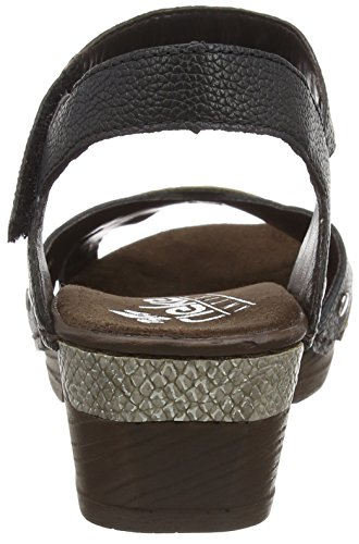 Rieker 66888, Women's Closed Toe Sandals Black (Schwarz/Fango-silver 00)