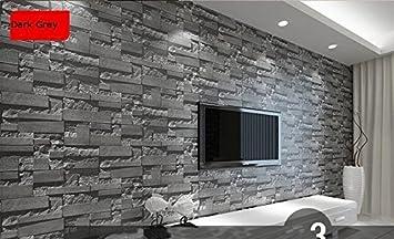 Modernes gestapelt Ziegel 3D Stein Tapete Rolle grau Stein Tapete ...