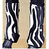 Tough-1 Extreme Fun Prints Front Vented Sport Boots ZEBRA - Set of 2 Large