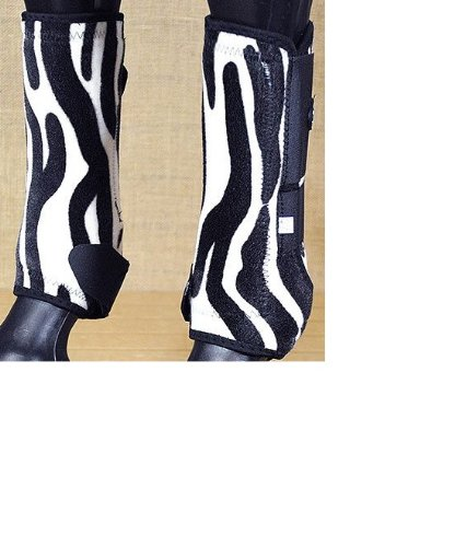 Tough-1 Extreme Fun Prints Front Vented Sport Boots ZEBRA - Set of 2 Medium by JT