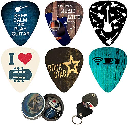 Cool Guitar Picks 12 Pack W/Tin Box & Picks Holder. Celluloid Medium Cool Picks Perfect Gift For Guitar & Lover. For Acoustic Electric and Base Guitars
