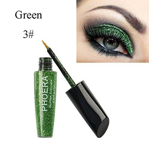 MEIQING Shimmer Glitter Eyeshadow Liquid Bling Eyeliner Highlighter Power Make Up Set (Green)