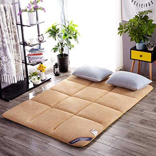 HIGOGOGO Tatami Floor Mat, Sharpe Mattress Sleeping Pad Quilted Soft Plush Bed Pad Japanese Foldable Roll up Mattress with Symbol Element Backing for Dormitory Apartment Thickness 3cm, 35