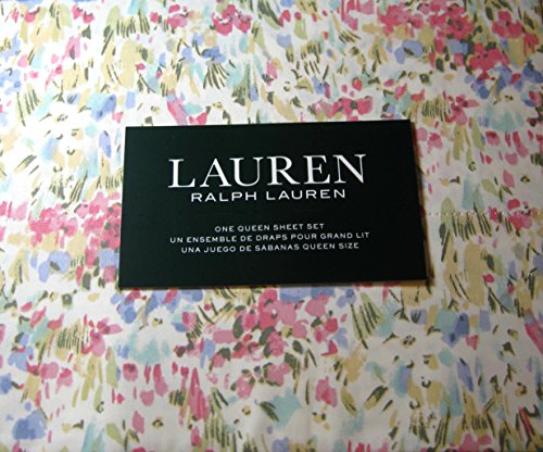Ralph Lauren Queen Flat Sheet - Lauren 4 Piece Queen Size Watercolor Abstract Floral Sheet Set 100% Cotton Multi Color