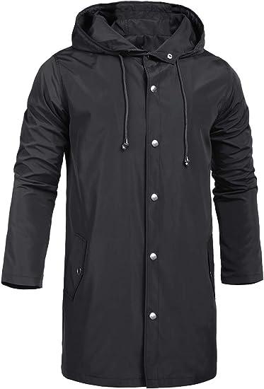 Mens Waterproof Jacket Lightweight Rain Over Coat Outdoor Protective Wear
