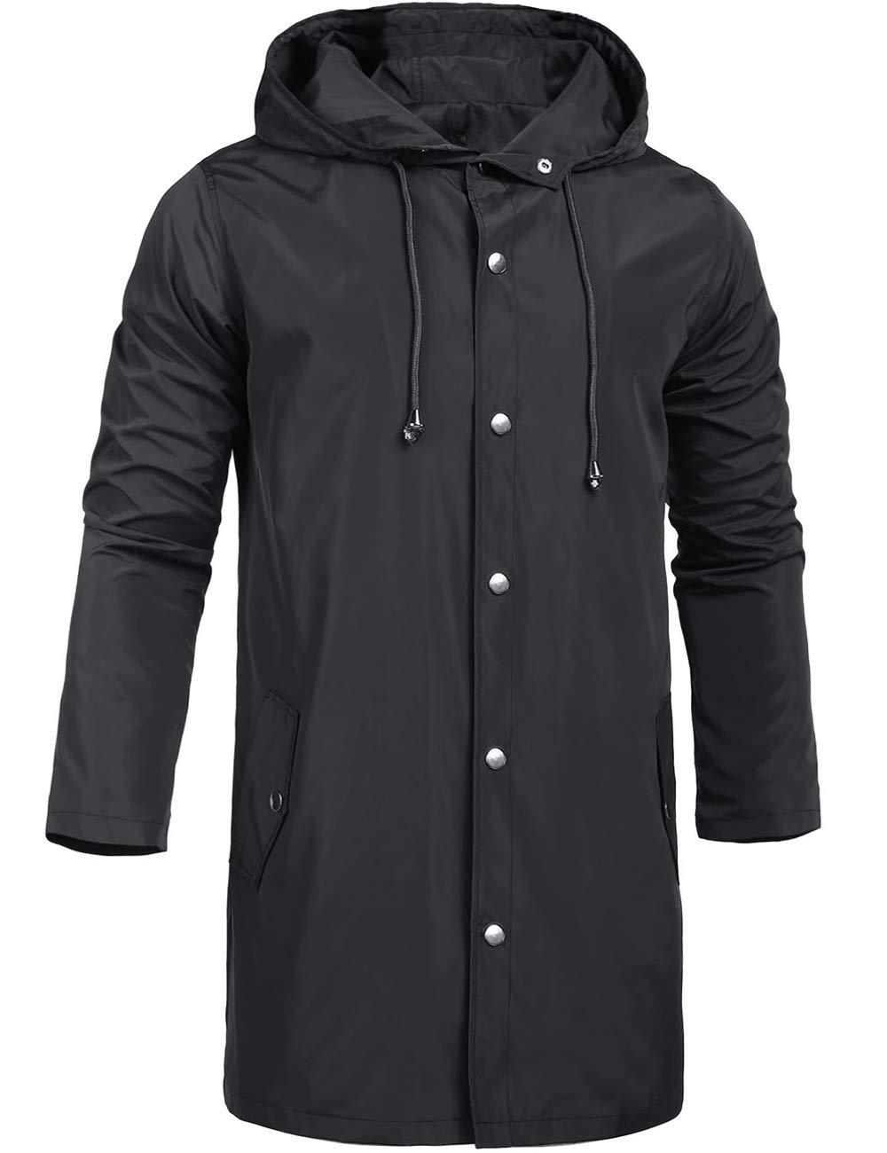 ZEGOLO Men's Raincoats Waterproof Jacket with Hood Windbreaker Breathable Lightweight Outdoor Long Rain Jacket for Men Black Large by ZEGOLO