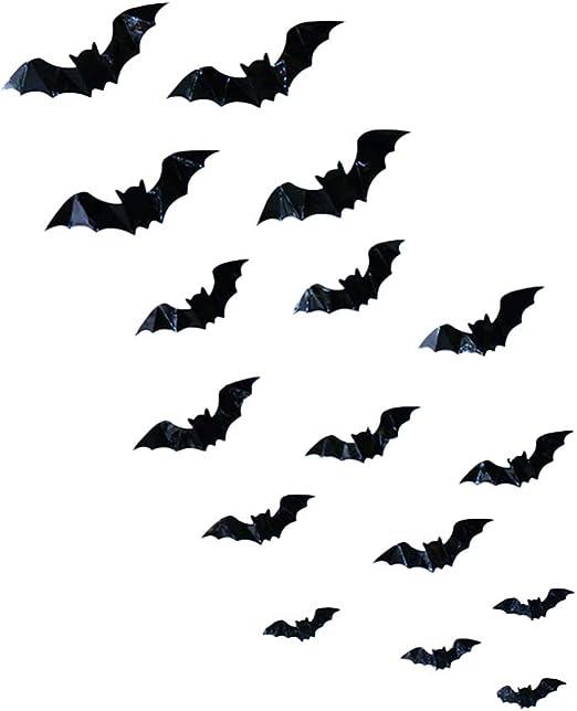 NUOBESTY 48 Piezas Pegatinas de murci/élago de Halloween calcoman/ías de Pared de murci/élago 3D Decoraciones de murci/élago extra/íbles Negras para Suministros de Fiesta de Halloween