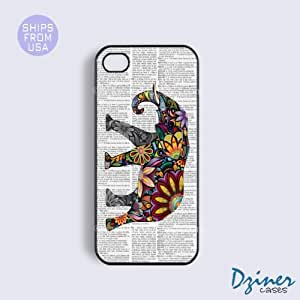 iPhone 4 4s Tough Case - Newspaper Colorful Art Elephant iPhone Cover