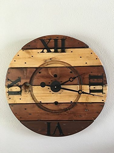 Amazoncom Oversized Wooden Spool Clock With Roman Numerals Handmade