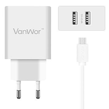 VANWOR Cargador Micro USB 2 Puertos USB (4.8A) 24W Una ...